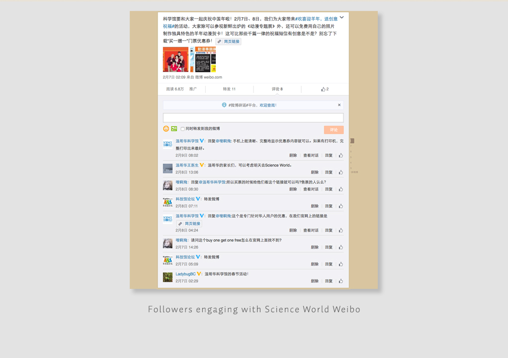 Followers engaging with Science World Weibo2